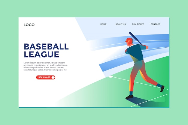モダンなイラストの野球とランディングページ Premiumベクター