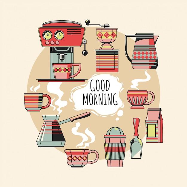 コーヒーオブジェクトのビンテージセットはコーヒー機器を意味します Premiumベクター