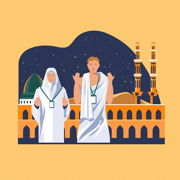 イスラム教のグリーティングカードで巡礼のためナバウィモスクで神を祈るイスラム教徒の巡礼 Premiumベクター