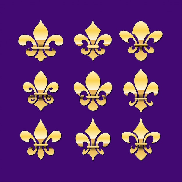 Золотая флер де лис или королевская лилия символ коллекция Premium векторы