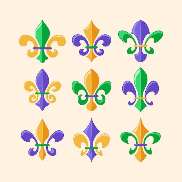 Флер де лис или королевская лилия символ коллекция Premium векторы
