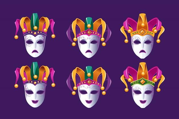 Карнавальные маски комедии и трагедии со шляпой шута Premium векторы