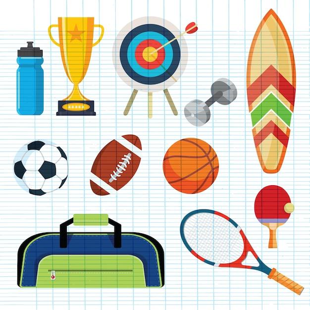 スポーツ用品 Premiumベクター