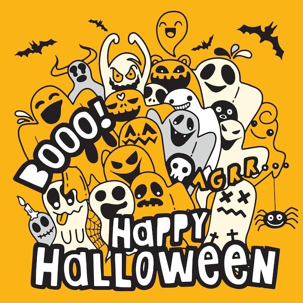Счастливый контур контура контура хэллоуина. бумажный фон, векторная иллюстрация Premium векторы