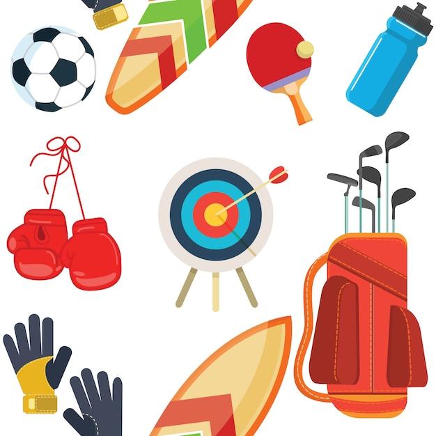 スポーツ器具、フラットオブジェクトセット、アイコン、レクリエーションとレジャー Premiumベクター
