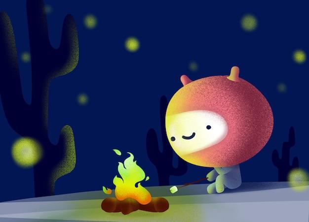 かわいいエイリアンは暗くて星明かりの中で座って発射します。 Premiumベクター
