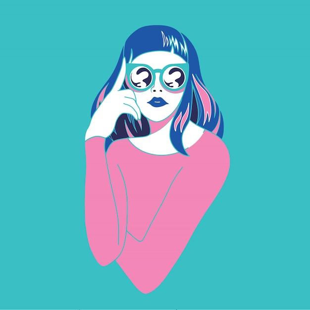サングラスのレトロなスタイルと美しい若い女性。ポップアート。夏休み。ベクトルイラスト Premiumベクター