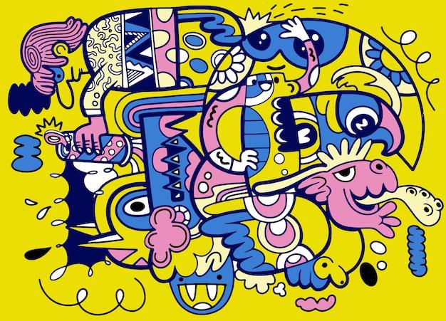 狂気の抽象的な落書き社会、落書きの描画スタイル。図 Premiumベクター