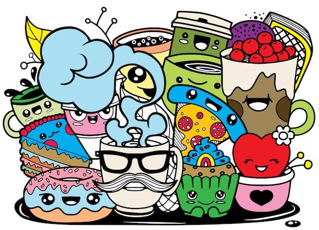 かわいいスタイルの面白い漫画の食べ物。 Premiumベクター