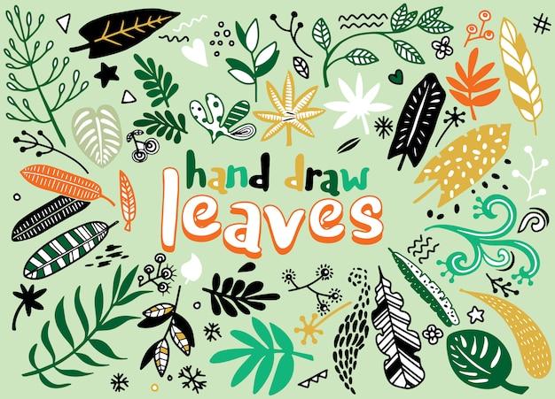 手は、ヴィンテージの要素(月桂樹、葉、花、渦巻き、羽)をスケッチしました。野生と自由。 Premiumベクター