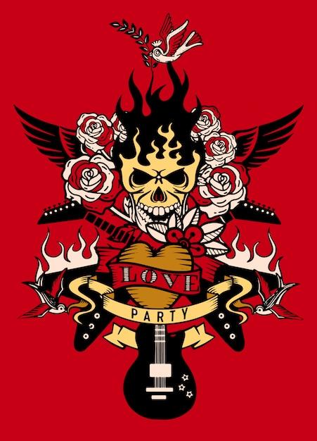 Иллюстрация с электрической гитарой и татуировкой с человеческим черепом, револьвером, розами и нотами Premium векторы