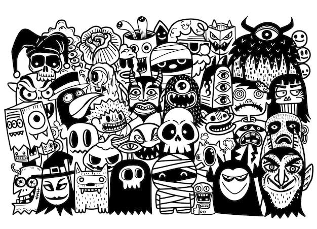 ハロウィーンのテーマのオブジェクトとシンボルのベクトル手描き落書き漫画セット Premiumベクター