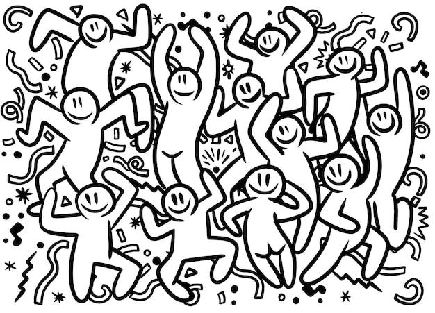 手描きの面白いパーティーの人々の落書きイラスト Premiumベクター