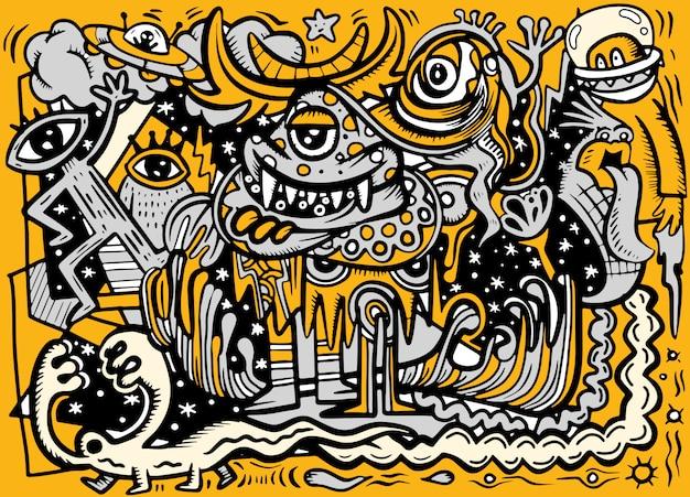 Сумасшедший абстрактный рисунок социальный, каракули стиль рисования. Premium векторы