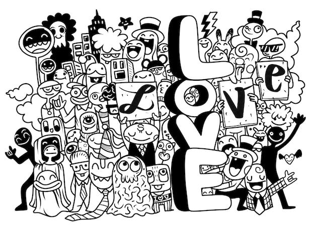 Счастливые молодые люди с буквами любят черно-белую иллюстрацию Premium векторы