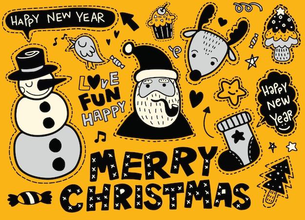 Набор наклеек с символами рождества и нового года Premium векторы