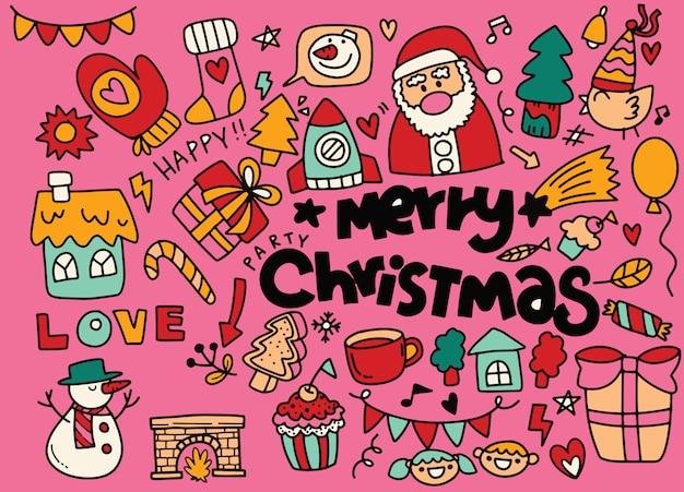 Рождественская коллекция каракули, рисованной новогодние элементы Premium векторы