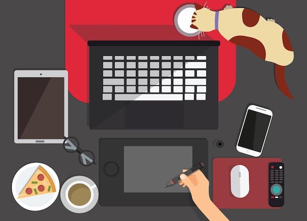 Вид сверху рабочего места графического дизайнера Premium векторы