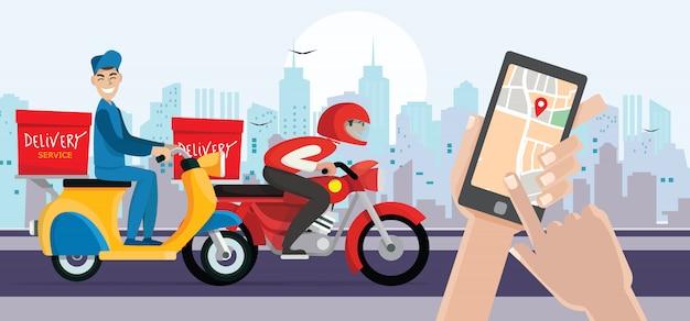 Доставка человек ездить на велосипеде получить заказ. рука держит мобильный смартфон открыть приложение. быстрая доставка, доставка. Premium векторы