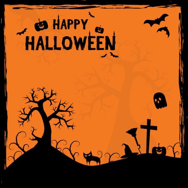 Страшный хэллоуин силуэт кадра мультфильм фон плакат Premium векторы