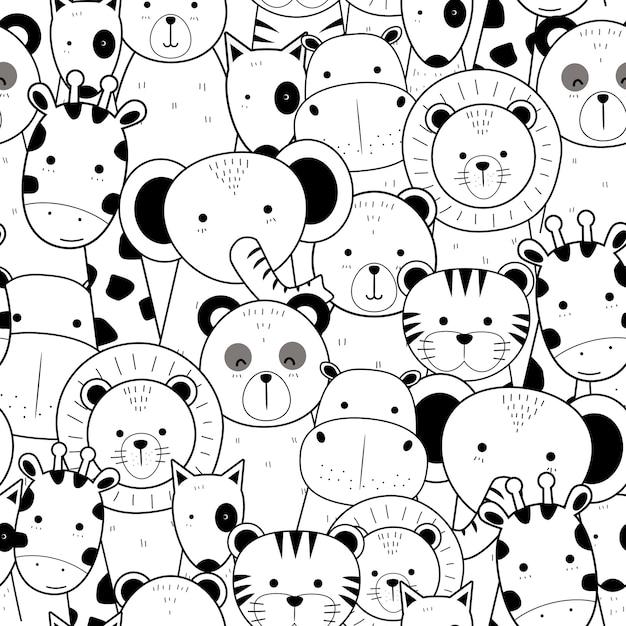 Симпатичные тонкие линии животных мультфильм каракули бесшовные модели Premium векторы