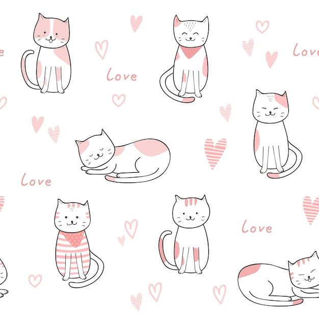かわいい猫漫画落書きパステル調のシームレスパターン Premiumベクター