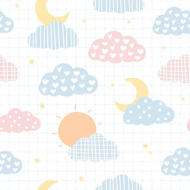 かわいい空の雲と星漫画のシームレスパターン Premiumベクター