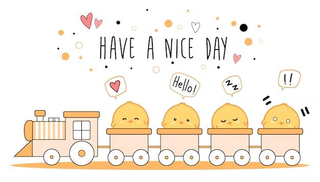 電車でかわいい小さな鶏漫画落書きバナー Premiumベクター
