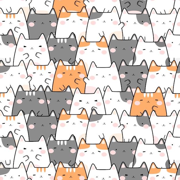 Симпатичный пухлый кот мультфильм каракули бесшовный фон Premium векторы