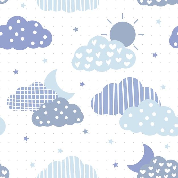 かわいいブルーのテーマの雲と空の漫画のシームレスパターン Premiumベクター