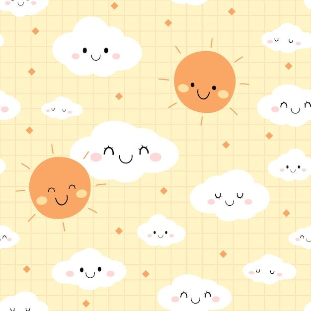 かわいい日空雲漫画落書きのシームレスパターン Premiumベクター