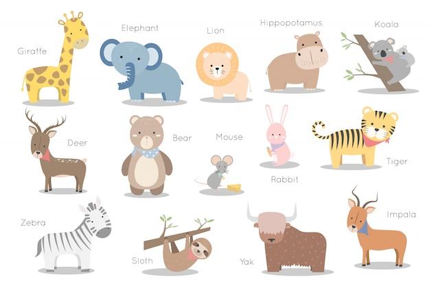 Набор милых диких животных символов стикер элемента Premium векторы