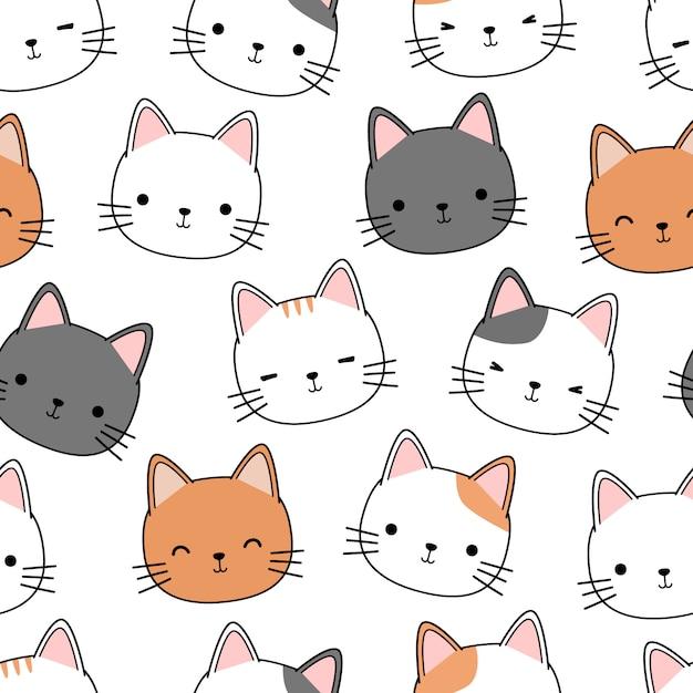 Милый котенок голова кота мультфильм каракули бесшовный фон Premium векторы
