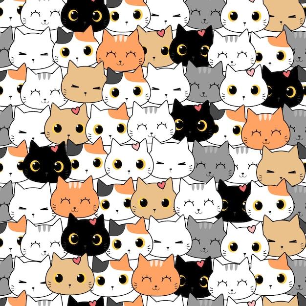 かわいい猫子猫漫画落書きシームレスパターン Premiumベクター