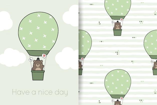 Милый плюшевый мишка шар мультфильм каракули бесшовные модели и открытки Premium векторы