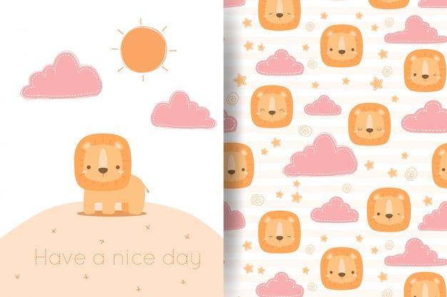 Милый мультфильм льва и облака каракули бесшовный фон поздравительных открыток Premium векторы