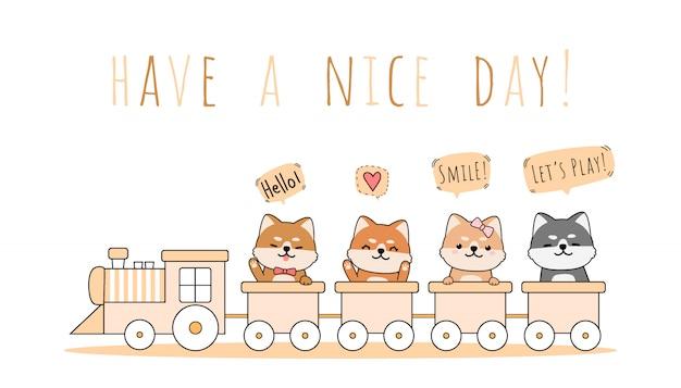 Симпатичные шиба ину езда поезд приветствие мультфильм каракули Premium векторы