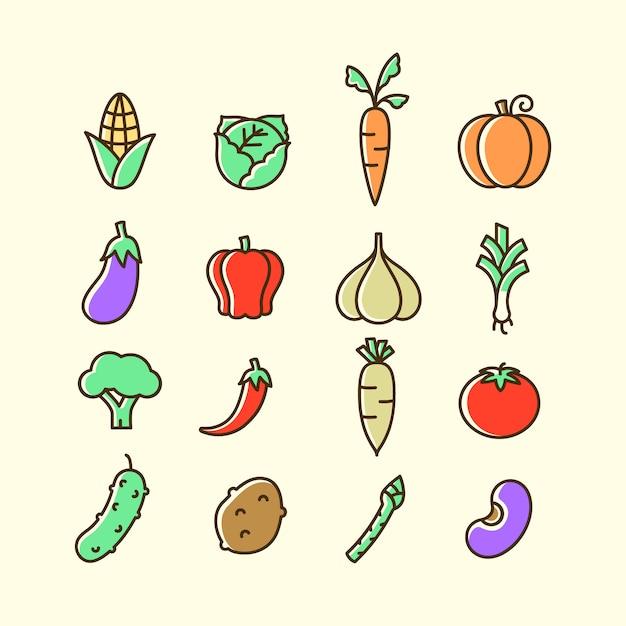カラフルな野菜のアイコンセット分離 Premiumベクター