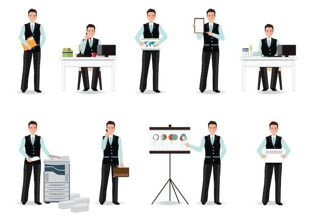 Бизнесмен, работающих в смарт-костюм, изолированных на белом Premium векторы