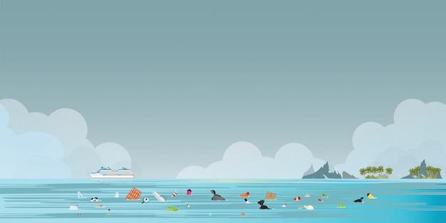 Круизный лайнер пассажирского судна с мусором, плавающим в море Premium векторы