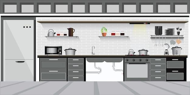 キッチン棚付きのモダンなインテリアキッチン。 Premiumベクター