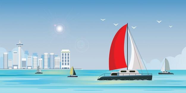 Синее море с роскошной парусной яхтой в море на баннер с видом на город Premium векторы