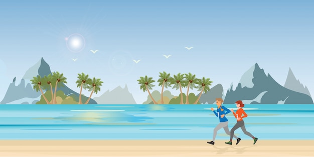 Пара работает на пляже пейзаж. Premium векторы