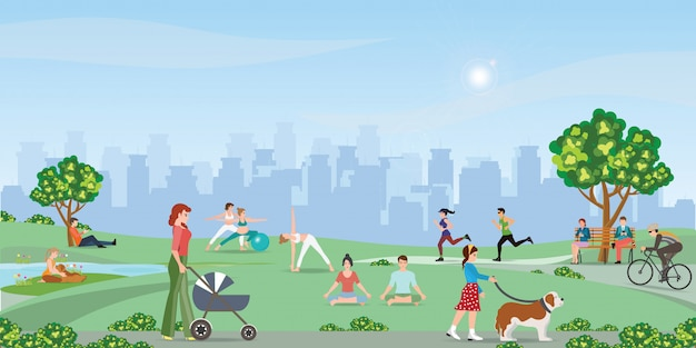 公園で楽しんで幸せな人々。 Premiumベクター