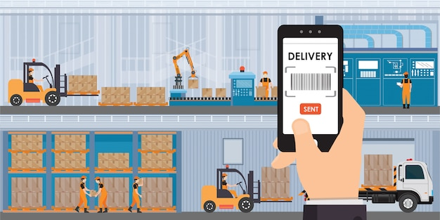 Складирование и хранение приложения на смартфоне с товарами и ящиками на полках. Premium векторы