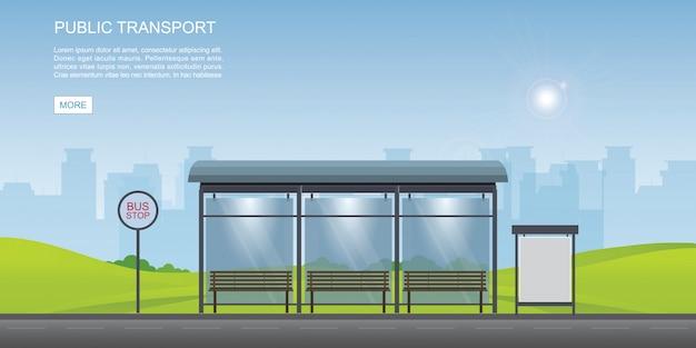 Автобусная остановка с видом на город фон и пустой рекламный щит. Premium векторы