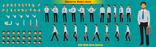 実業家キャラクターモデルシートウォークサイクルアニメーションスプライトシート Premiumベクター