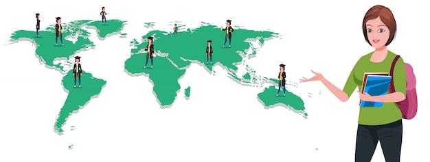Высшее образование в мире Premium векторы