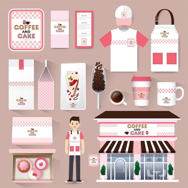 Шаблон макета фирменного стиля кафе-ресторан Premium векторы
