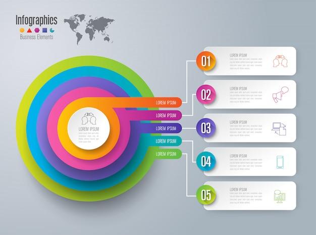 手順とオプションを含むインフォグラフィック Premiumベクター